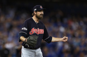 TORONTO, ON - OCTOBER 17: Andrew Miller #24 of the Cleveland Indians celebrates after defeating the Toronto Blue Jays with a score of 4 to 2 in game three of the American League Championship Series at Rogers Centre on October 17, 2016 in Toronto, Canada. (Photo by Elsa/Getty Images)