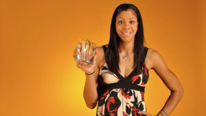 SAN ANTONIO - OCTOBER 3: Candace Parker #3 of the Los Angeles Sparks poses for a portrait with the Hanns-G 'Go Beyond' Rookie of the Year award prior to Game Two of the WNBA Finals on October 3, 2008 at AT&T Center in San Antonio, Texas. NOTE TO USER: User expressly acknowledges and agrees that, by downloading and/or using this photograph, User is consenting to the terms and conditions of the Getty Images License Agreement. Mandatory Copyright Notice: Copyright 2008 NBAE (Photo by Garrett Ellwood/NBAE via Getty Images)