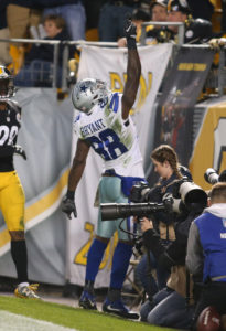 Nov 13, 2016; Pittsburgh, PA, USA;  Dallas Cowboys wide receiver Dez Bryant (88) celebrates his fifty yard touchdown catch against the Pittsburgh Steelers during the third quarter at Heinz Field. Dallas won 35-30. Mandatory Credit: Charles LeClaire-USA TODAY Sports