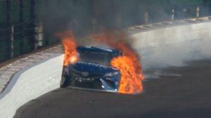 Martin Truex Jr. and his fiery car at the Brickyard 400.