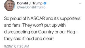 POTUS Trump commends the sport of NASCAR
